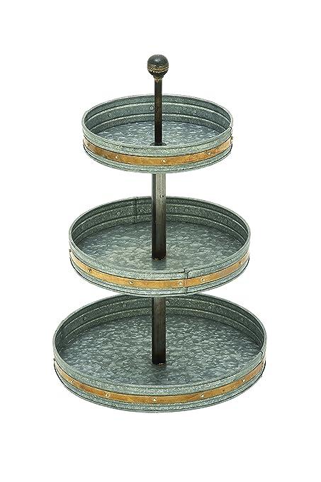 47f82b4492 Amazon.com  Deco 79 Farmhouse 3-Tiered Round Metal Galv Tray 15