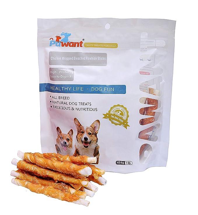 Pawant Puppy Training Snacks Dog Chews Treats Chicken Wrapped Rawhide Sticks