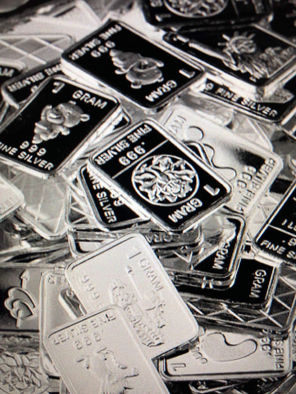 TEN One Gram .999 pure Silver Bars with random