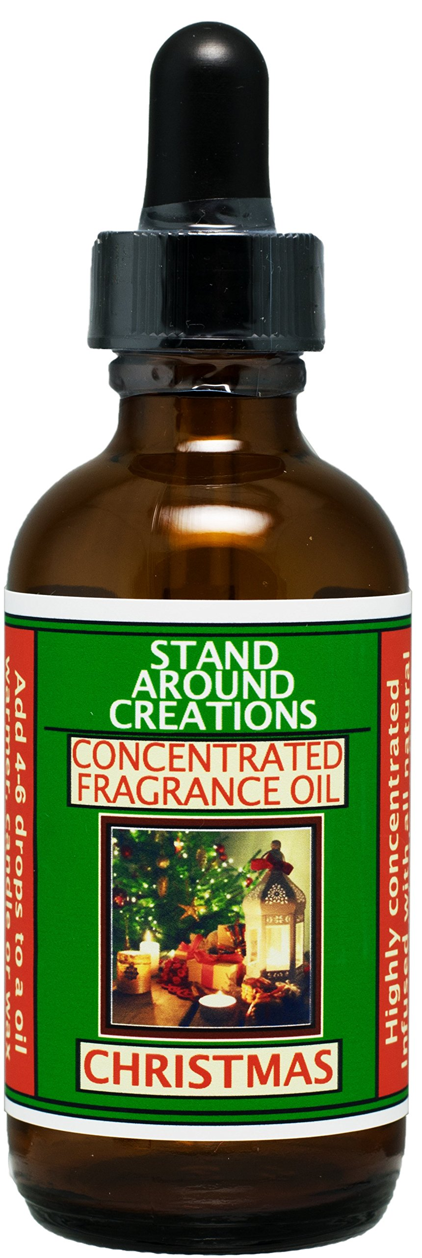 Concentrated Fragrance Oil - Christmas - Orange spice notes from the kitchen, fir w/pine notes from the Christmas tree. Made w/ natural orange, cinnamon, and pine essential oils.(2 fl.oz.) by Stand Around Creations (Image #1)