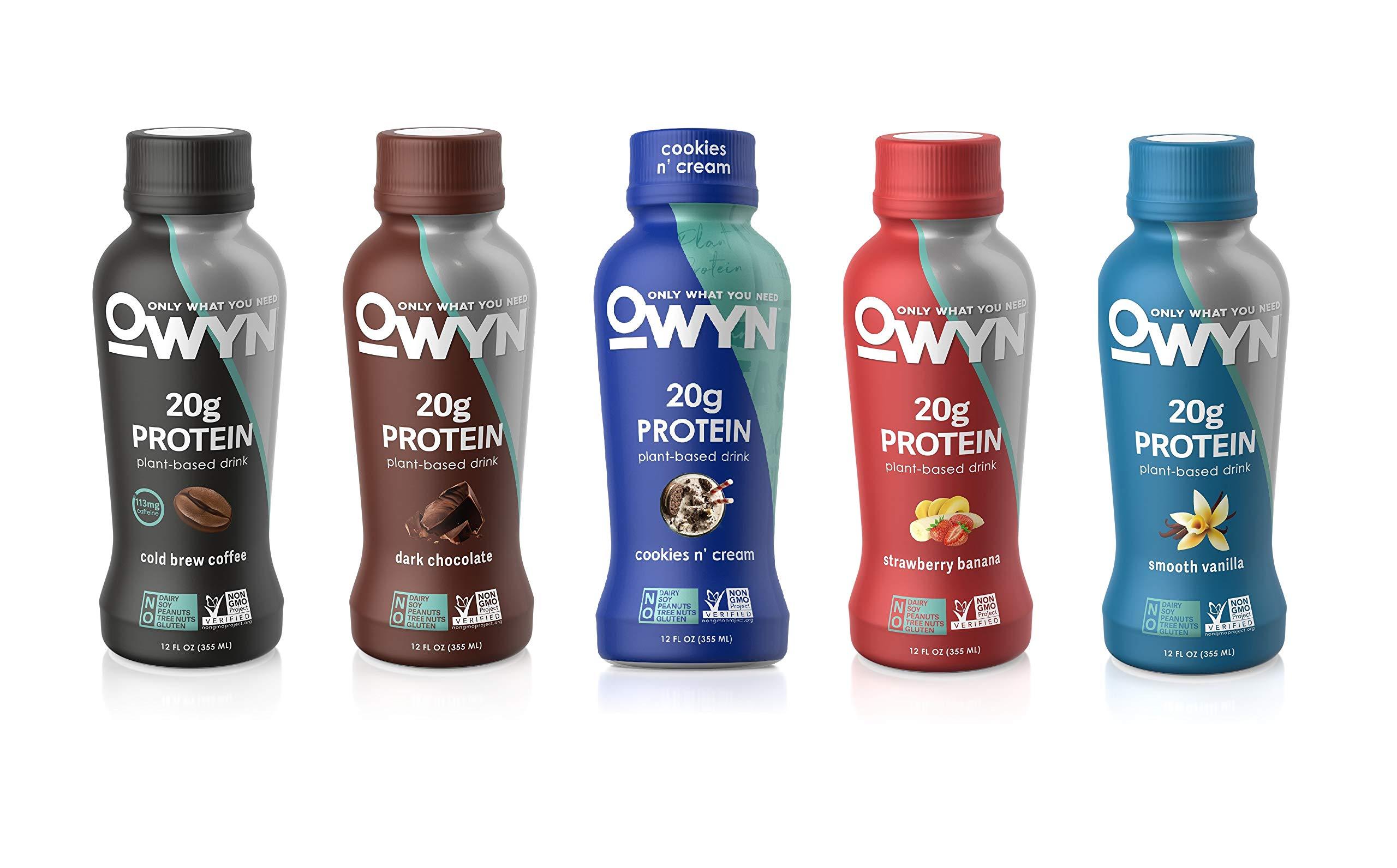 OWYN, Vegan Protein Shake, 5 Flavor Variety Pack ,12 Fl Oz, 100-Percent Plant-Based, Dairy-Free, Gluten-Free, Soy-Free, Tree Nut-Free, Egg-Free, Allergy-Free, Vegetarian, Kosher (Pack of 5)