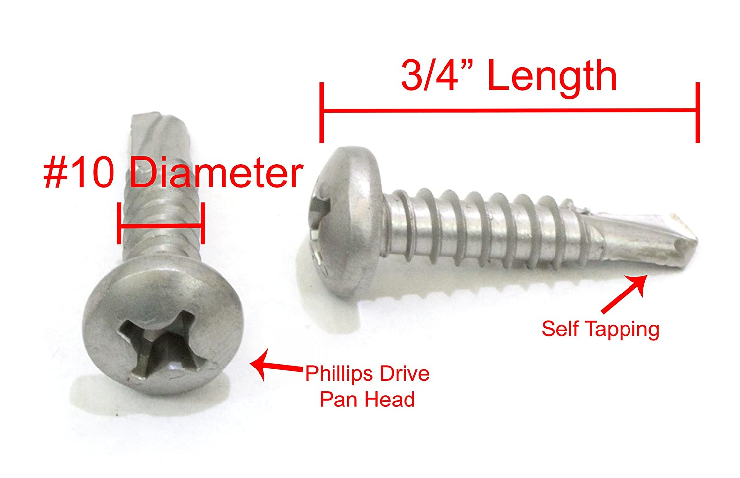 #10 X 3//4 Stainless Pan Head Phillips Self Drilling Screw, 410 Stainless Steel Self Tapping Screws by Bolt Dropper 50pc