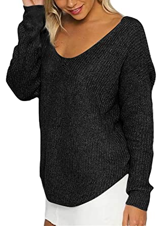 df4480bc0937dc Womens Loose Knitted Pullover Sweater Long Sleeve V Neck at Amazon ...