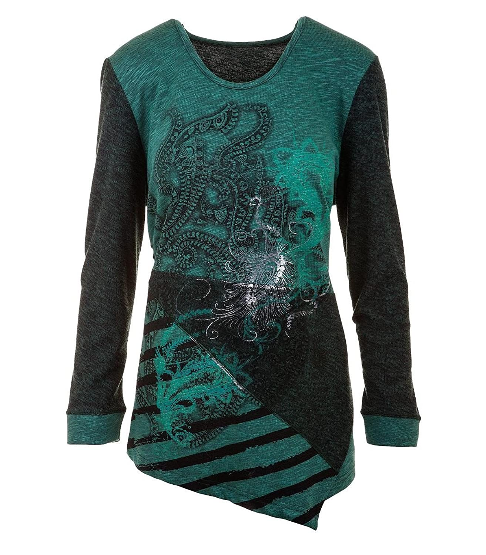 Chalou Damen Shirt Langarmshirt Longshirt Druck Übergröße Grün 52 54 56 58 60