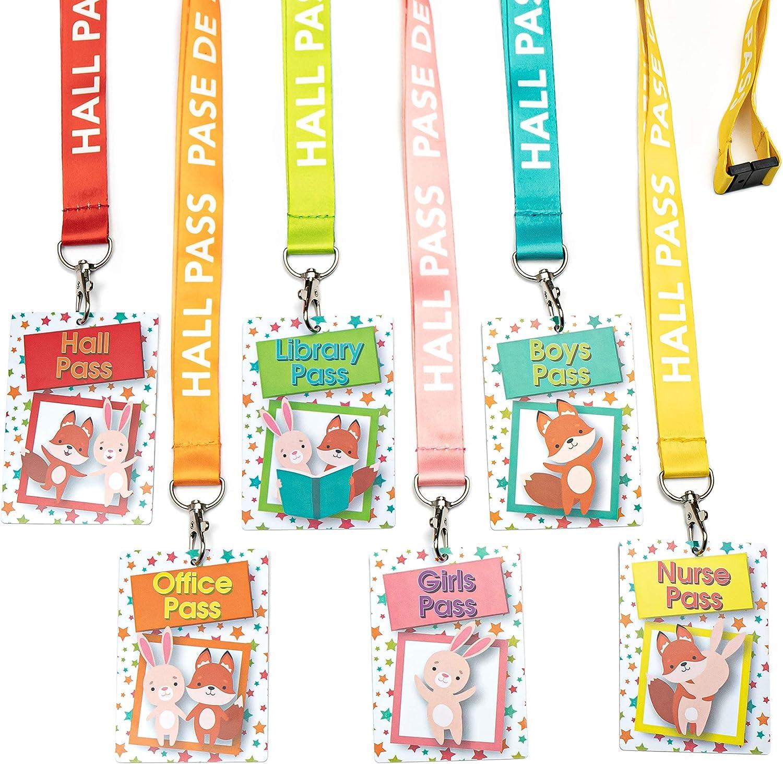 Hall Pass - Cordones para maestros, estudiantes y aulas, diseño de conejo y zorro, 6 unidades, inglés y español: Amazon.es: Oficina y papelería