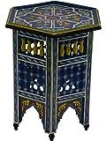 Moroccan Wood Side End Table Corner Coffee Handmade Hand Painted Moorish Blue