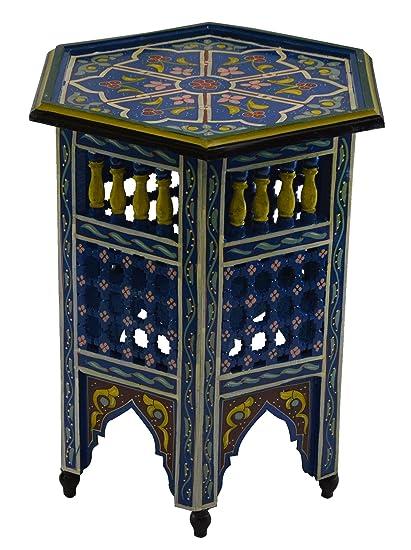 Incroyable Moroccan Wood Side End Table Corner Coffee Handmade Hand Painted Moorish  Blue