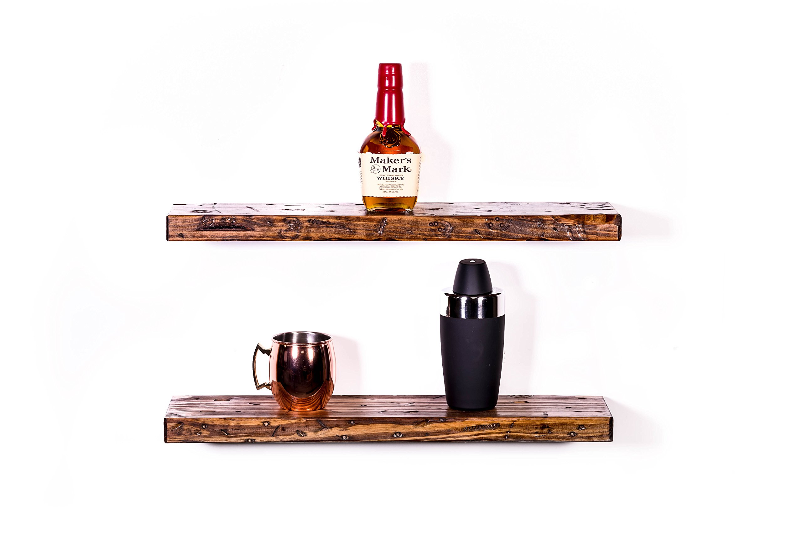 DAKODA LOVE 5.25'' Deep Rugged Distressed Floating Shelves, USA Handmade, Clear Coat Finish, 100% Countersunk Hidden Floating Shelf Brackets, Beautiful Grain Pine Wood Rustic (Set of 2) (24'', Bourbon)