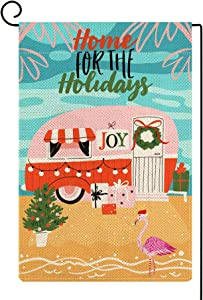 Molili Christmas Home for The Holidays Garden Flag,Flamingo Xmas Tree Pink Camper Yard Flag Vertical Double Sized,Burlap Rustic Farmhouse Yard Outdoor Lawn Patio Decor for Xmas Holiday 12.5x18 Inch