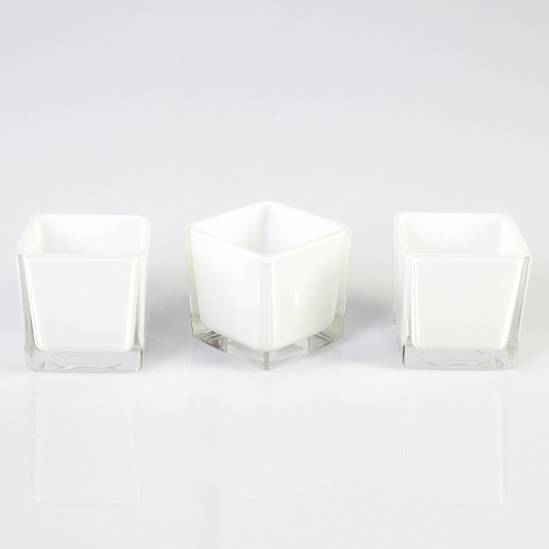 3 x piccoli portacandela / bicchierini cubici in vetro KIM, bianco, 8x8x8 cm - Set portacandela / Bicchieri decorativi - INNA Glas