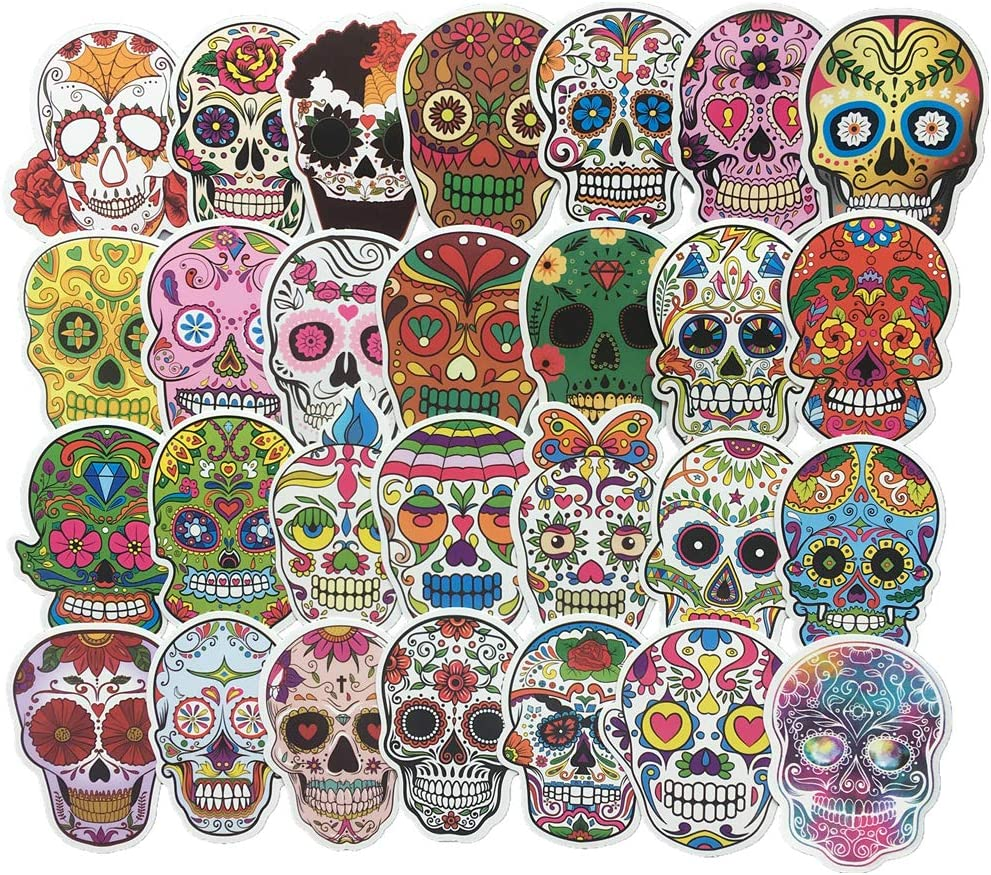 60-Pcs PVC Stickers Vinyl Colorful Skull Laptop Car Decals Waterproof Sunlight-Proof Durable for Cars Motorbikes Luggage Skateboard Decor