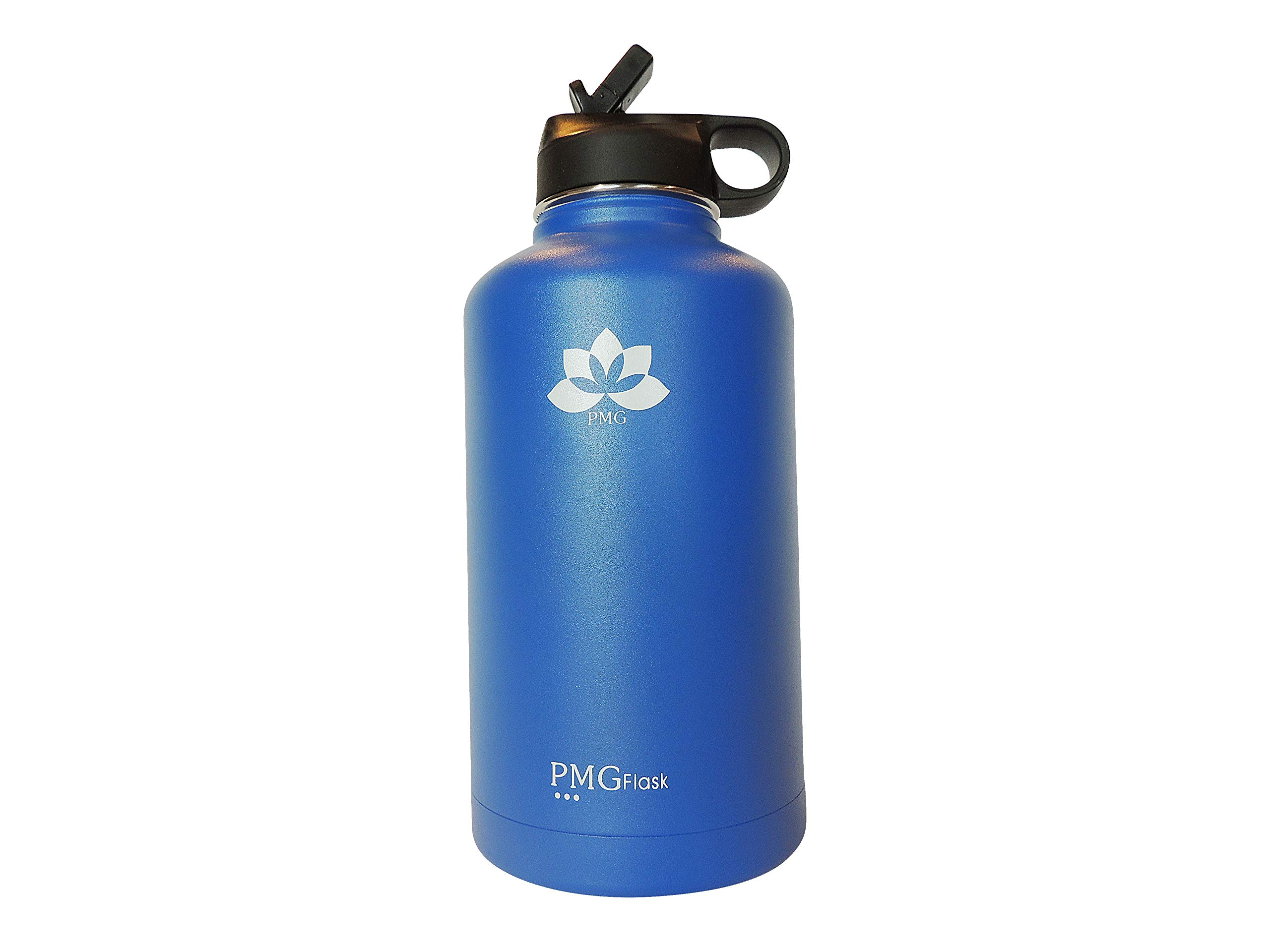 PMG Flask Blue 60oz Wide Mouth Double Wall Vacuum Insulated Stainless Steel Sports Water Bottle with Straw Lid. FDA Approved