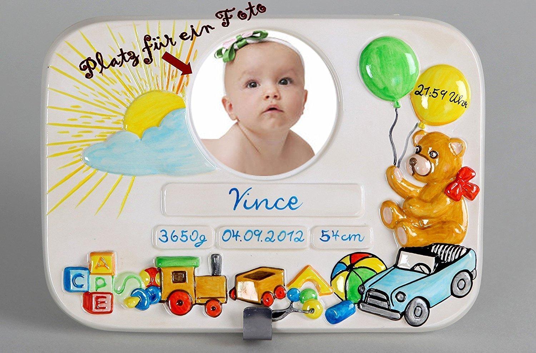 Geburtsteller, Taufteller, personalisiert und handbemalt, Geschenk zur Geburt oder Taufe, Spielzeug