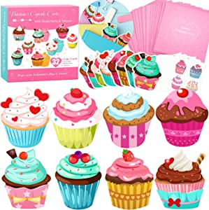 Valentines Day Cards for Kids 32 Pack with Cute Bookmarks, Temporary Tattoos & Pink Envelopes - Perfect Cupcake Valentines Day Cards for School Classroom Exchange Gifts