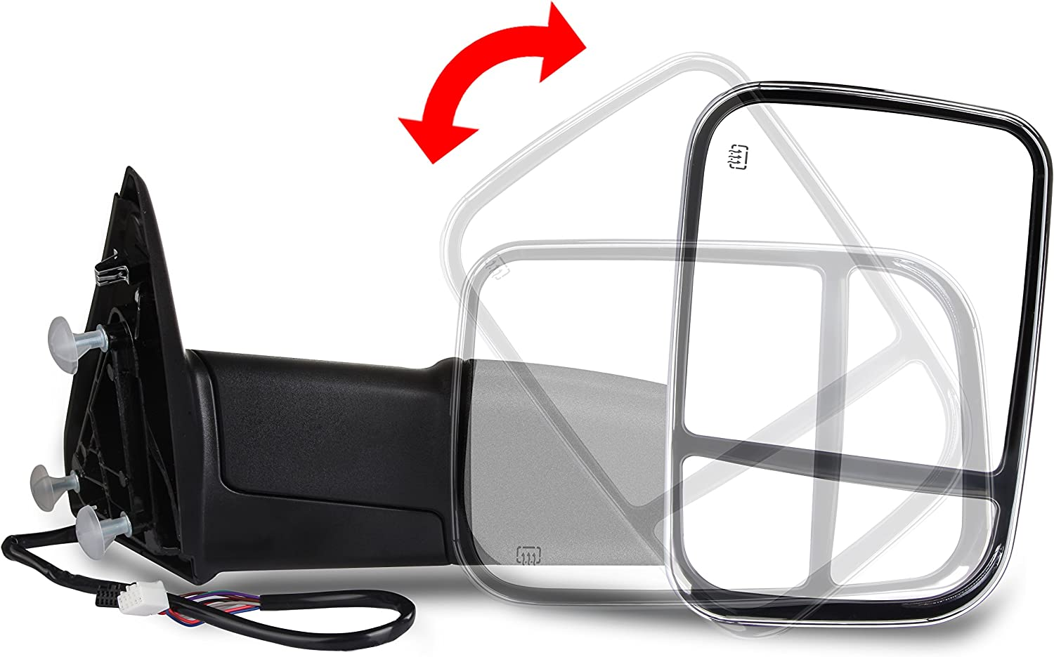 LSAILON Tow Mirrors Towing Mirrors Fit for 2011-2019 Dodge Ram 1500//2500//3500 with Left and Right Side Power Control Heated with Turn Signal Light Puddle Light Chrome