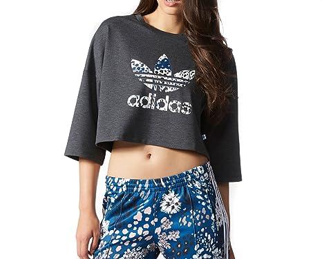 adidas Camiseta de Mujer LS, Dark Grey Heather, Mujer, Gris, 36