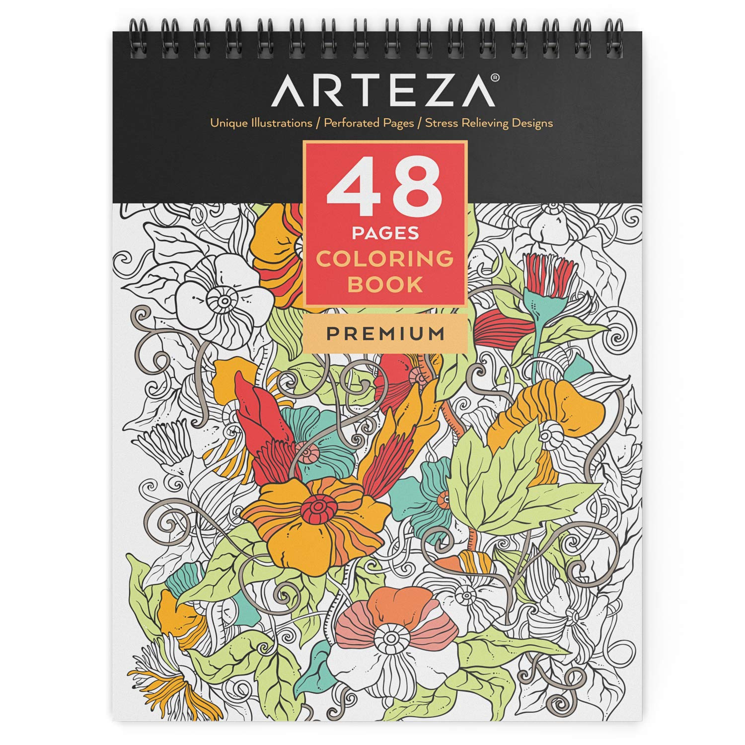 ARTEZA Adult Spiral Bound Coloring Book, 48 Pages, Perfect for Stress Relief by ARTEZA