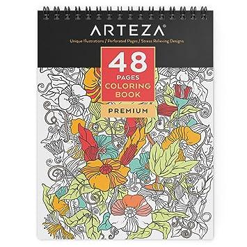 Coloriage Adulte Spirale.Arteza Livre A Colorier A Reliure Spirale Pour Adultes 48 Pages