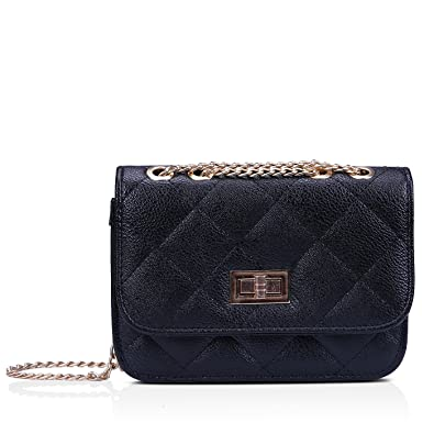 9aa8eb99195 HDE Women s Small Crossbody Handbag Purse Bag with Chain Shoulder Strap ( Black)