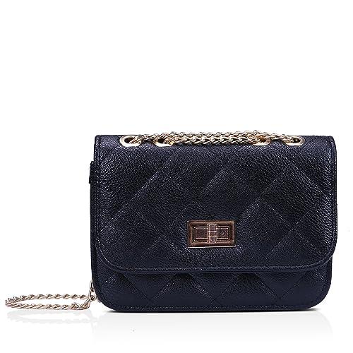 HDE Women s Small Crossbody Handbag Purse Bag with Chain Shoulder Strap  (Black) 1e896ea3a34fa