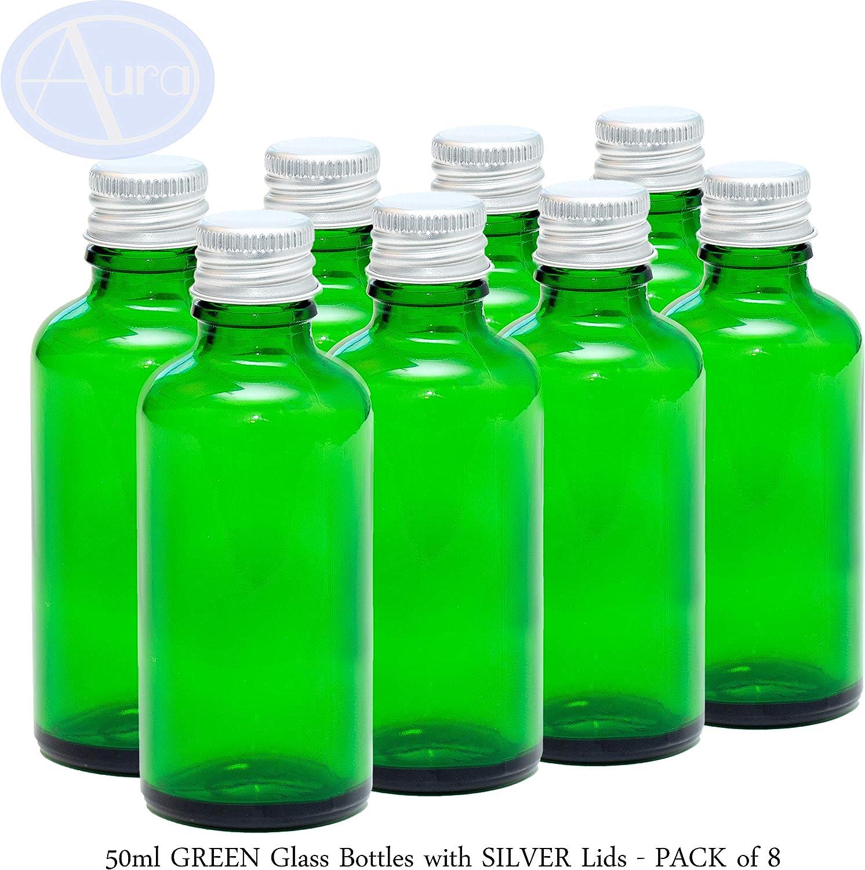 Botellas de cristal verde con tapas plateadas de 50 ml, paquete de 8