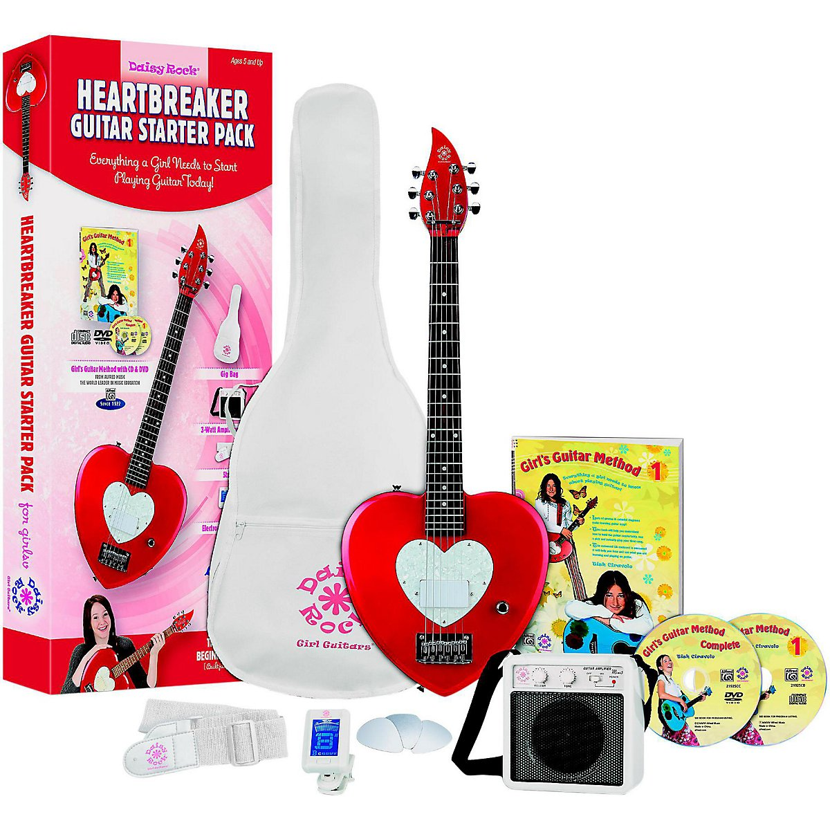 Daisy Rock Heartbreaker Electric Short Scale Starter Pack, Red Hot Red