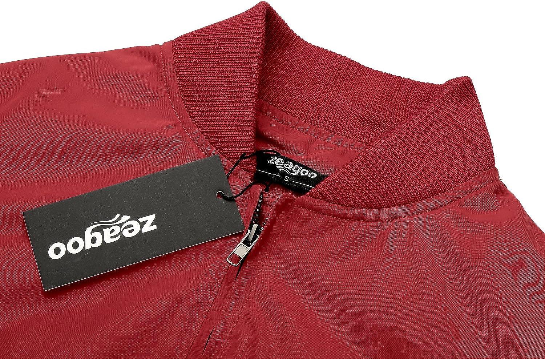Zeagoo Blouson Femme L/ég/ère Veste// Jacket Bomber Zip Slim Noir//Vert//Rouge