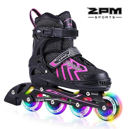 2pm Sports Brice Pink Adjustable Illuminating Inline Skates With Full Light Up LED Wheels Fun Flashing Rollerblades For Girls