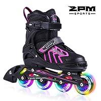 2pm Sports Brice Pattini in linea regolabili, Ruote illumina LED, divertente inline skates per ragazzi, ragazze e giovani, buona roller blades per donna e uono