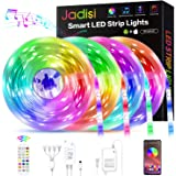Led Strip Lights, Jadisi 65.6ft Music Sync RGB Lights Strip, SMD5050 Color Changing with Bluetooth Controller + 24 Key…
