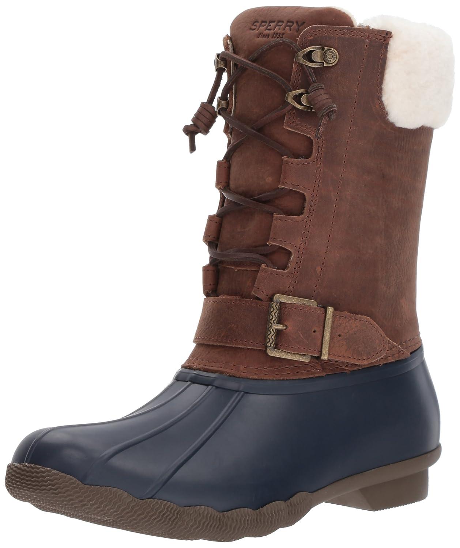 Sperry Top-Sider Women's Saltwater Misty Fur Rain Boot B01MQY4XKR 5 B(M) US|Navy/Brown