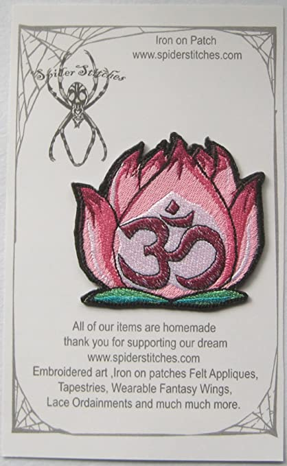 Amazon pink om lotus flower lovely peaceful zen iron on patch pink om lotus flower lovely peaceful zen iron on patch mightylinksfo