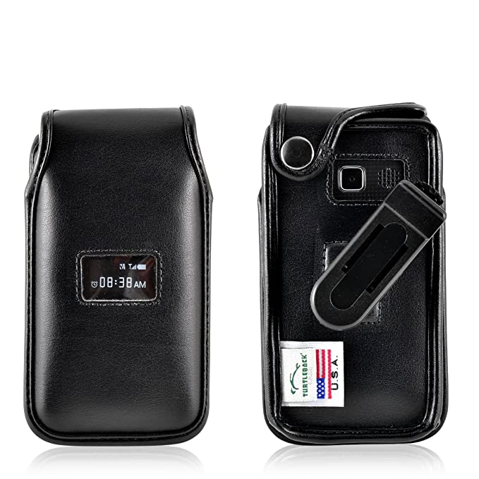 the latest 7f50e faf51 Tutleback Phone Case for TracFone ZTE Cymbal T Black Leather Fitted Case  with Ratcheting, Removable Belt Clip - Made in USA