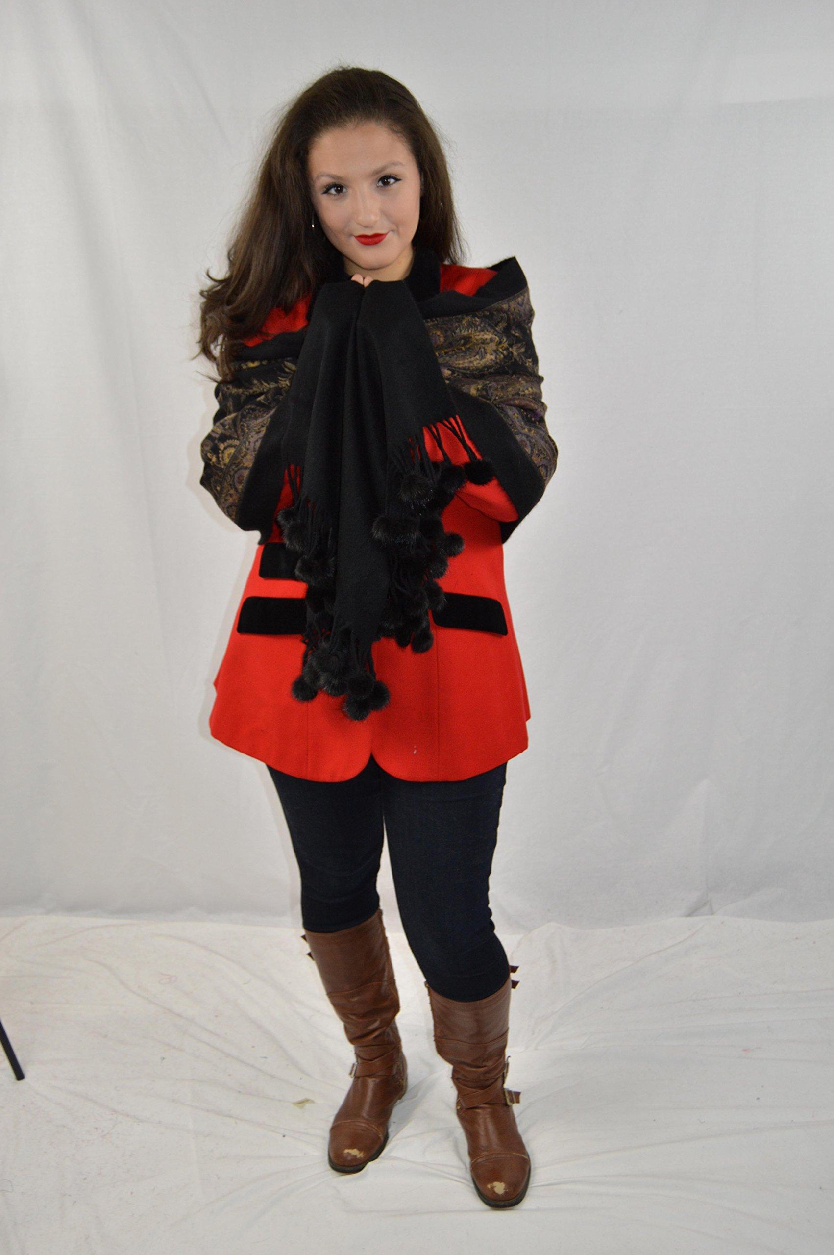 Cashmere Pashmina Group-Cashmere Shawl Scarf Wrap Stole (Solid/ Reversible Print w/ Genuine Fur) - Mink Black by Cashmere Pashmina Group (Image #7)