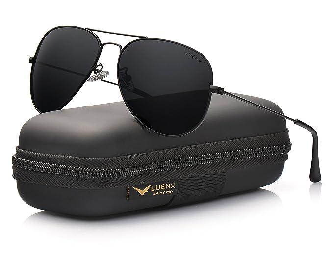 LUENX Femme Lunettes de Soleil Aviator polarisées Au volant with Cas - Protection UV 400 poids léger roses cadre métallique miroir plage élégante lunettes 60mm r4ilXXz
