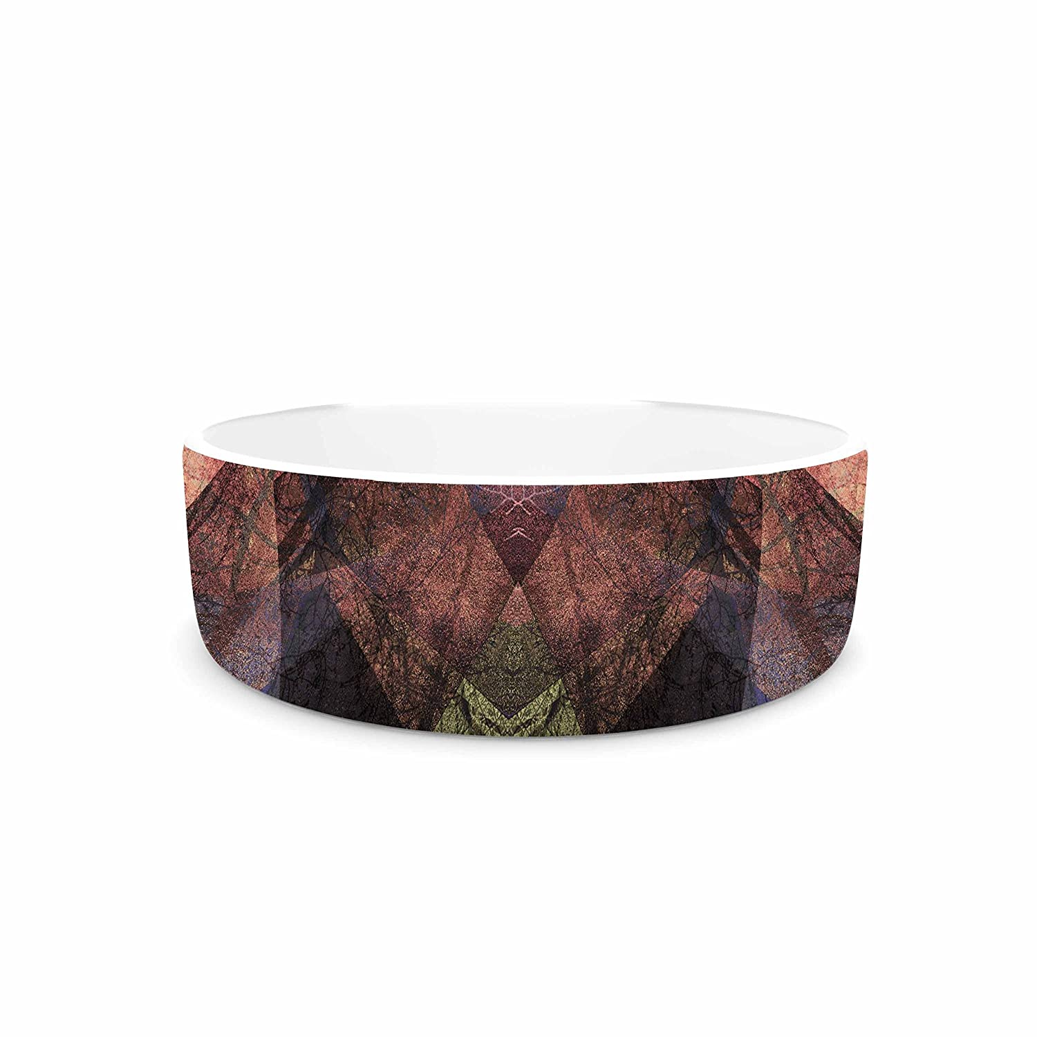 KESS InHouse Pia Schneider Pattern Garden No3 Coral Tan Geometric Pet Bowl, 4.75  Diameter