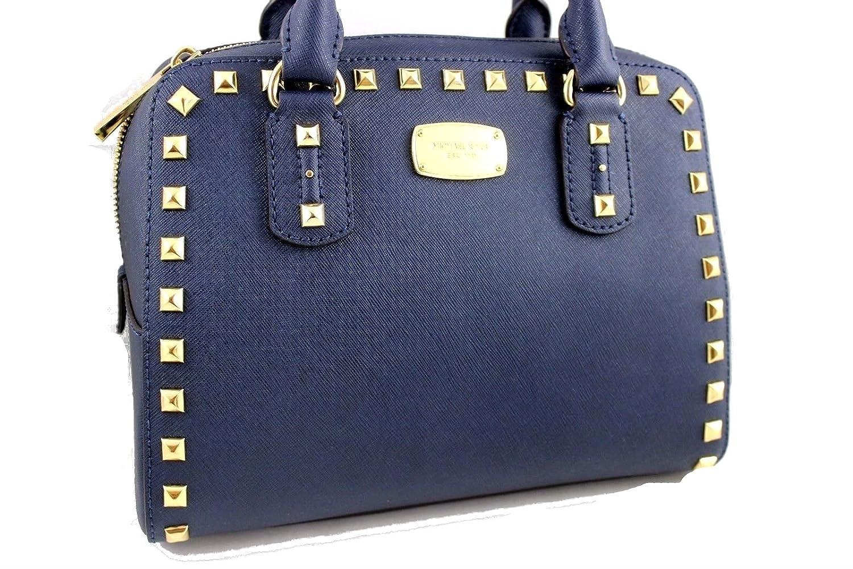 469990252213 Michael Kors Saffiano Stud Small Satchel Handbag Navy: Handbags: Amazon.com