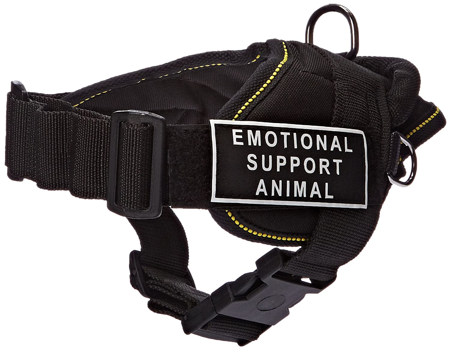 Dean & Tyler Fun Works Harness, Emotional Support Animal, Black with Yellow Trim, X-Small, Fits Girth Size  20-Inch to 23-Inch