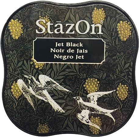 Image ofTsukineko StazOn Midi Ink Pad-Jet Black, Negro Azabache, 0.9x2.25x2.25 Inches