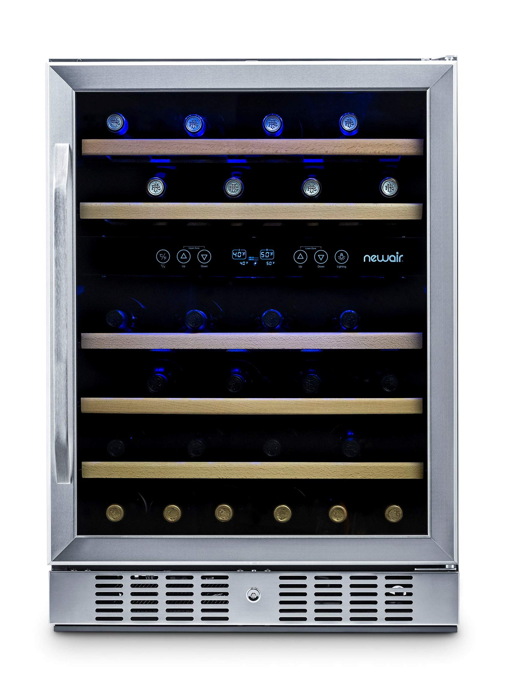 NewAir Built-In Wine Cooler and Refrigerator, Dual Zone 46 Bottle Capcity Fridge with Triple-Layer Tempered Glass Door, AWR-460DB by NewAir