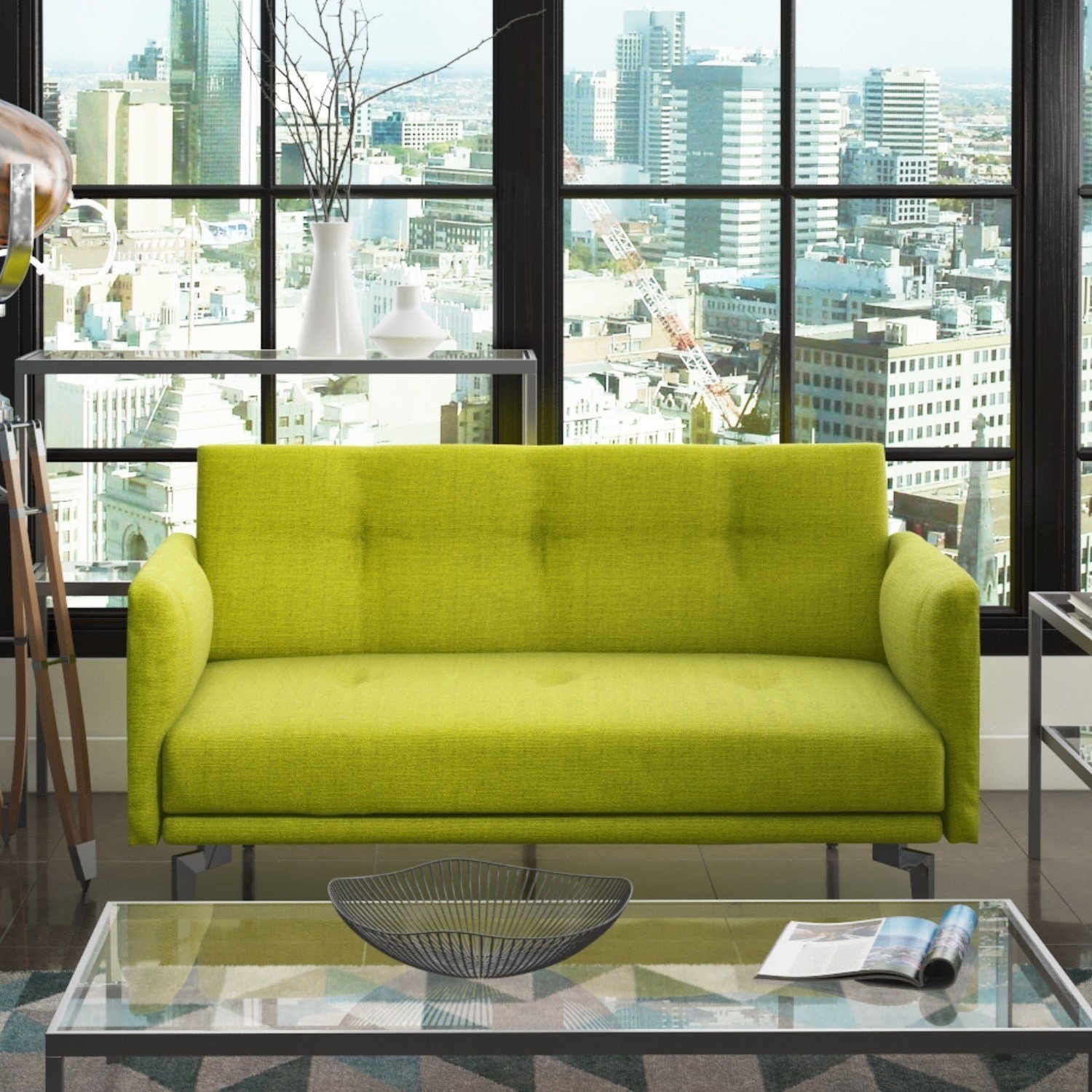 Colby 2 Seater Modern Sofa in Lime Green Amazon Kitchen & Home