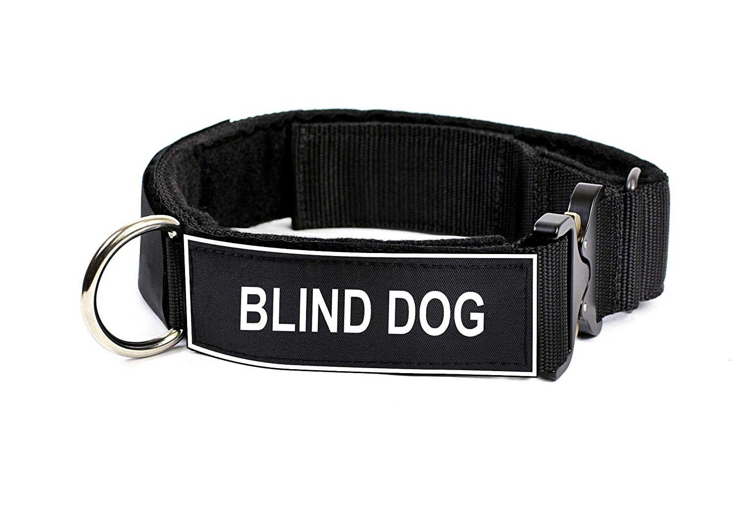 Dean & Tyler 21 to 26-Inch Strong Nylon Cobra Patch Collar with Felt Padding, Blind Dog Patches, Medium, Black