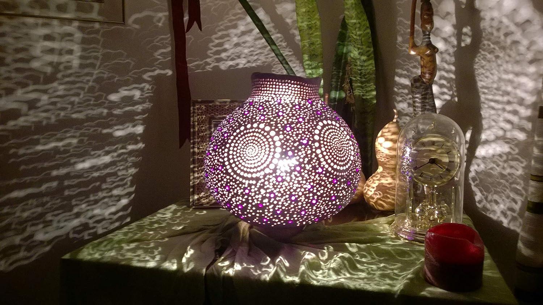 Gourd Lamp Shade Night Light Unique Anniversary Birthday Gift Idea Boho Home Decor Trendy The Metanoia
