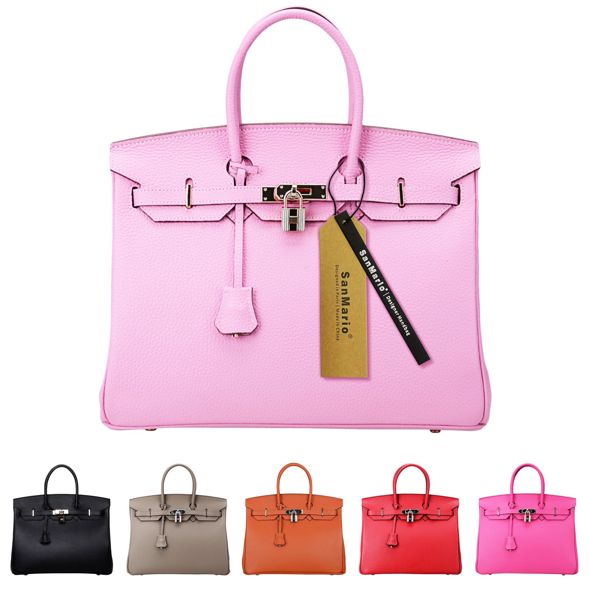 SanMario Designer Handbag Top Handle Padlock Women's Leather Bag with Silver Hardware Pink 35cm/14''