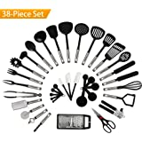 NEXGADGET Premium 38 Piece Kitchen Utensils Cookware Set with Stainless Steel and Nylon Cooking Tools Including Spoon, Turners, Tongs, Whisk, Can Opener, Peeler, Scraper, Measuring Jug and Spoon
