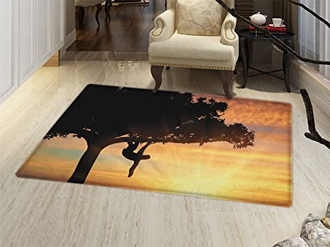 36ffbbc008 smallbeefly Sloth Door Mats for inside Sunset View at Nature Reserve Exotic  Animal Hangs on Big