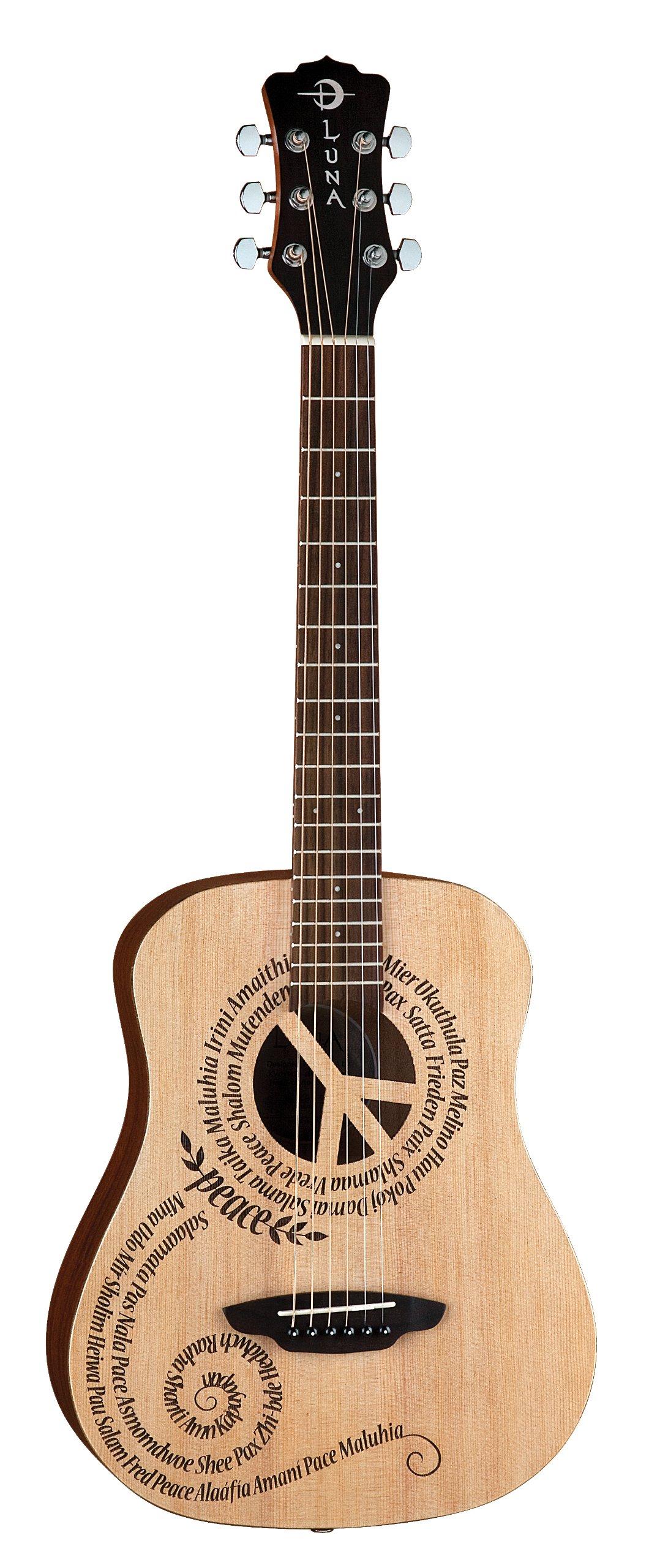 Luna Safari Series Peace Travel-Size Dreadnought Acoustic Guitar by Luna Guitars
