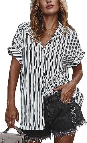 Spec4Y - Camisa de manga corta para mujer, a rayas, parte superior: Amazon.es: Ropa y accesorios