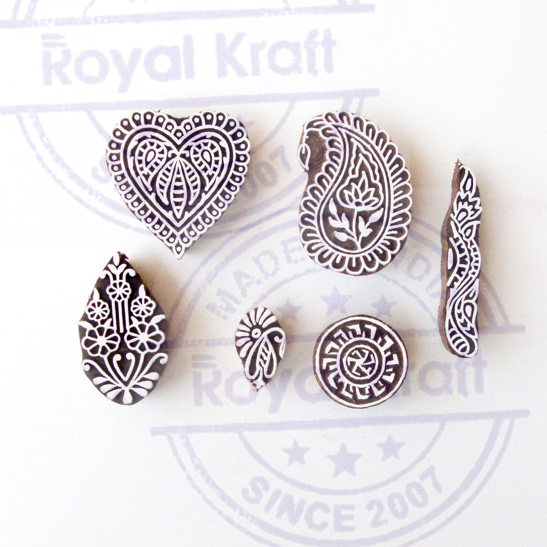 Royal Kraft Artistic Motif Round and Mandala Block Print Wood Stamps Set of 5