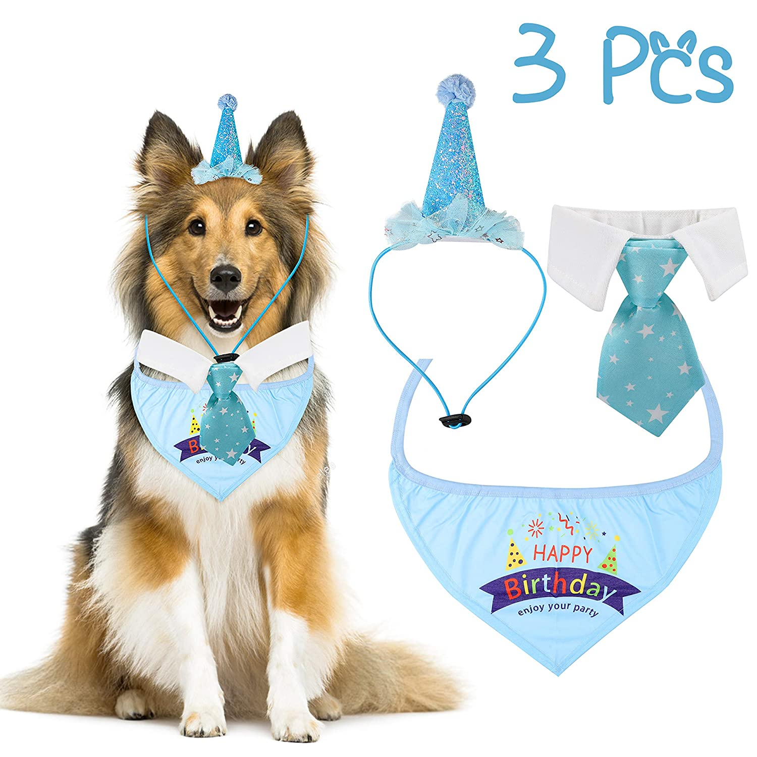 R HORSE 3 Packs Dog Birthday Bandana Scarf Birthday Party Hat with Tie Dog Party Accessories Party Supplies for Boy Large Dogs